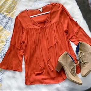 Cato • Rust Bell Sleeve Blouse